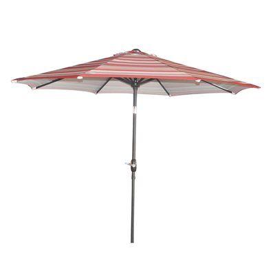 Garden Treasures 9 Ft Red Striped Octagon Market Umbrella