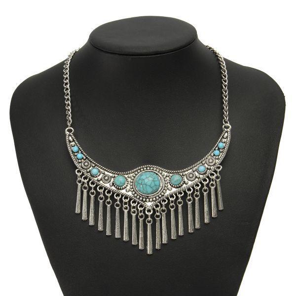 Stone necklaces pendants boho vintage turquoise choker necklace stone necklaces pendants boho vintage turquoise choker necklace tassel statement necklaces mens necklace aloadofball Images