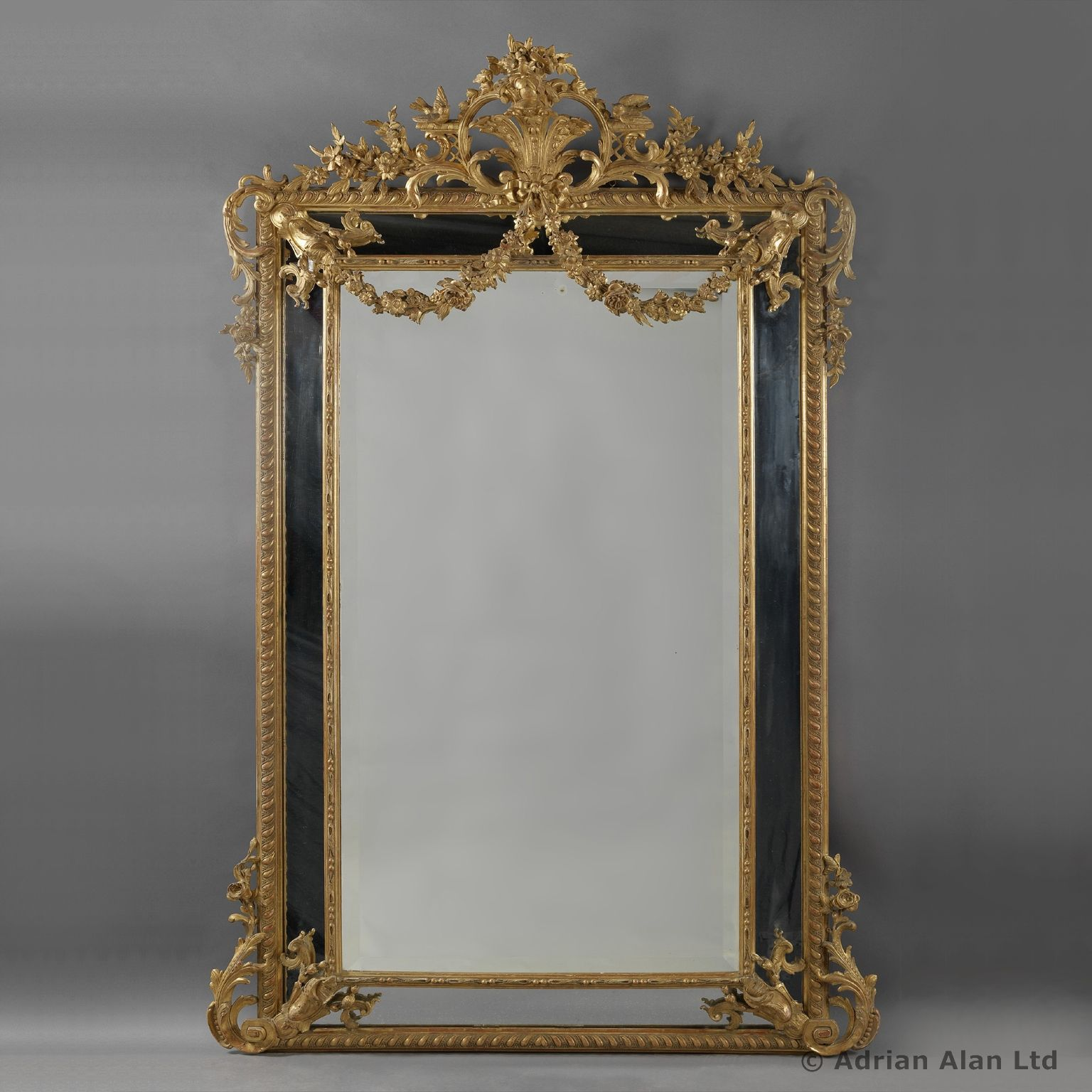 A Large and Finely Carved Louis XVI Style Marginal Frame Giltwood Mirror  - #adrianalan