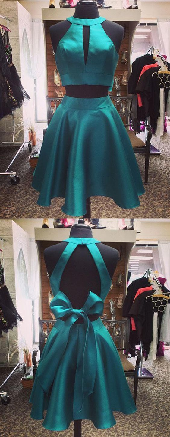 Simple two piece halter hole back short dark green satin homecoming