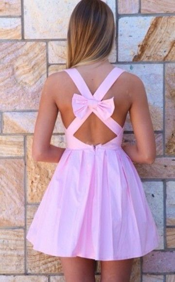 Light Pink Bow Back Sleeveless Dress | Summer, Short backless ...