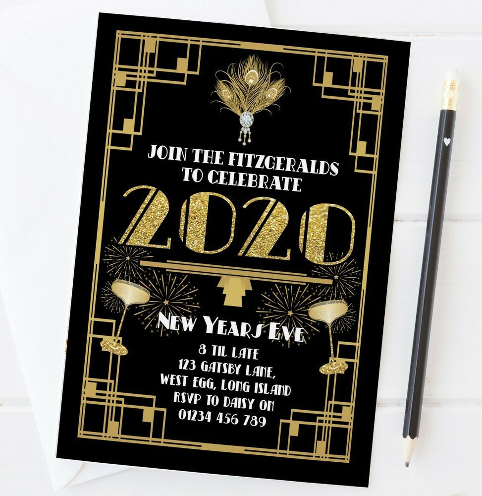 Details about 10 NEW YEARS EVE PARTY INVITATIONS 2020