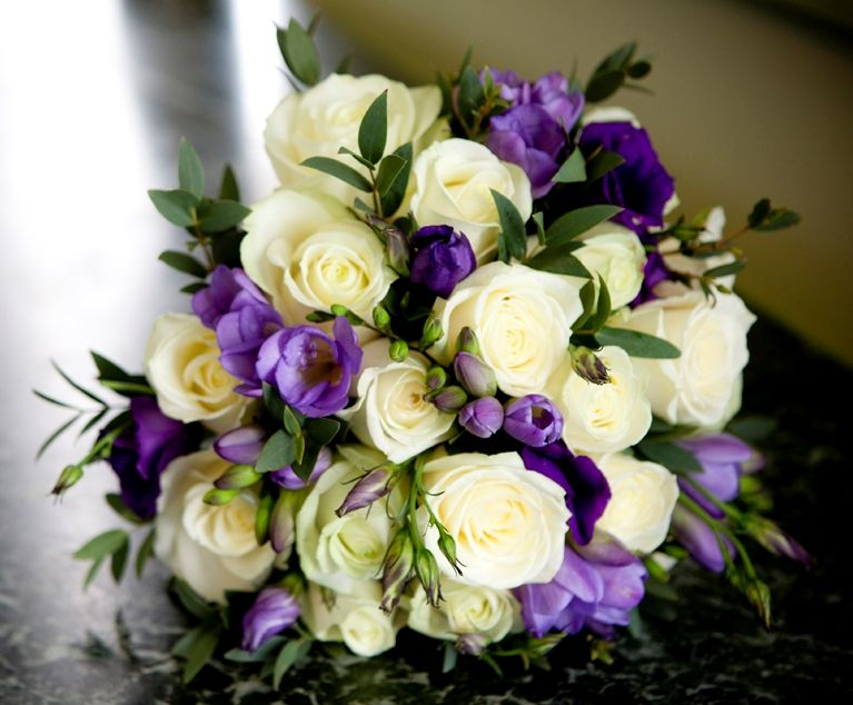 White Rose Lilac Freesia And Purple Lisianthus Bouquet Purple