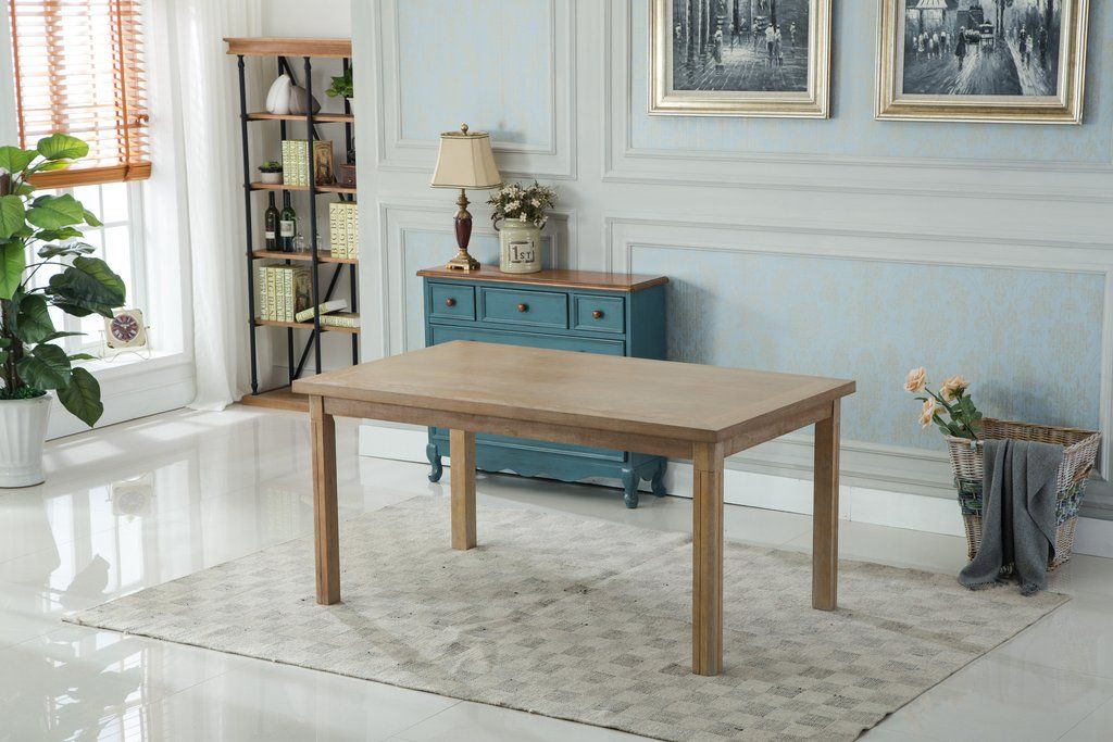 Monotanian Solid Wood Dining Table With 6 Nailhead Chairs Blue