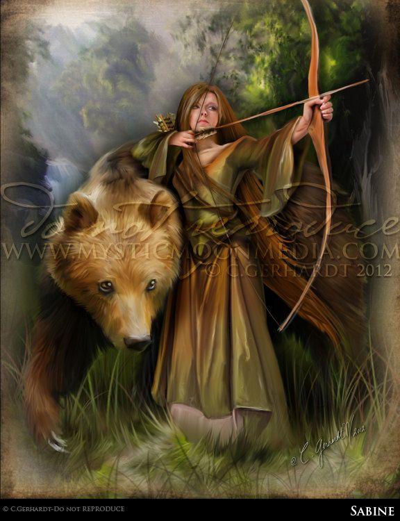 Sabine...5x7 Matted Print...Medieval Woman Archer Protecting Bear... Celtic Pagan Fantasy Art. $15.00, via Etsy.