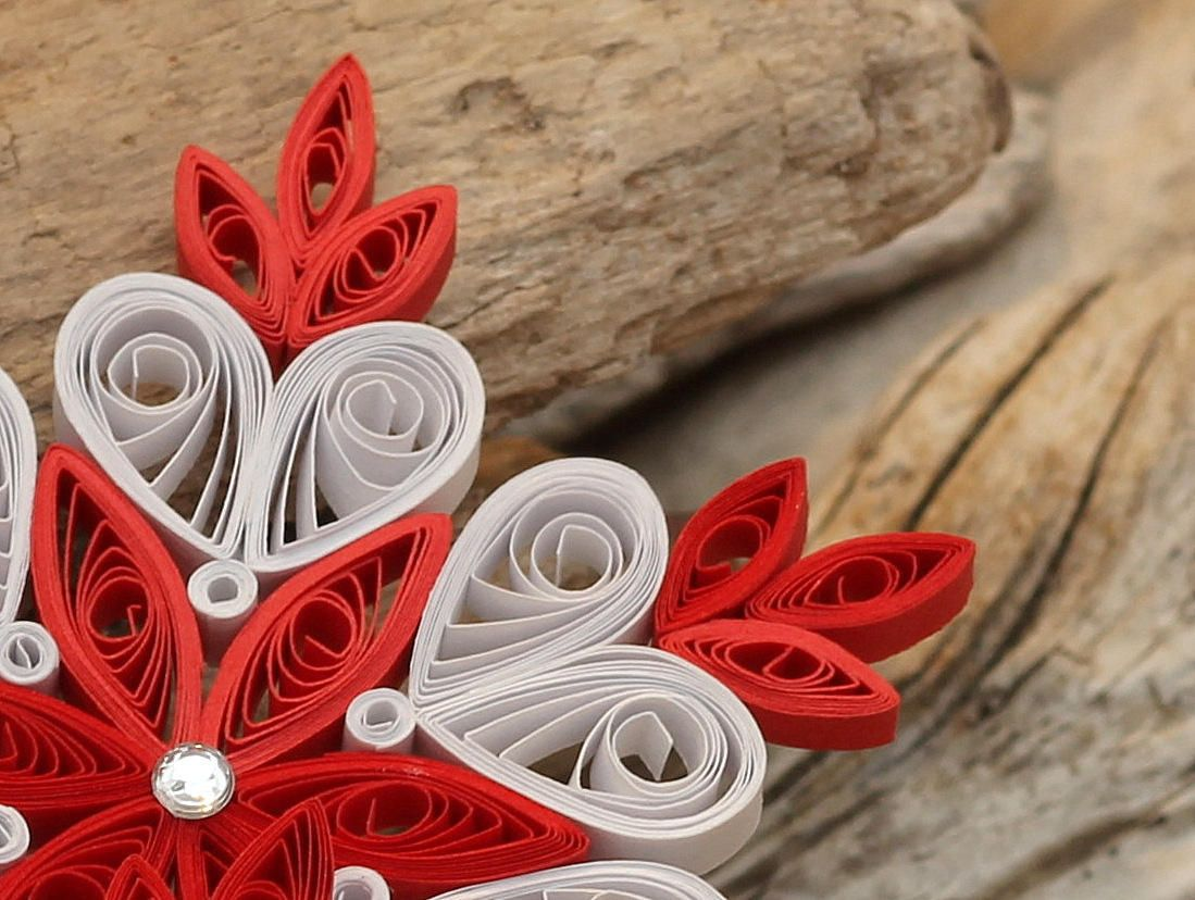 Snowflake Red White, Quilled Handmade Art, Paper Quilling, Home Decoration Idea, Christmas Tree ...