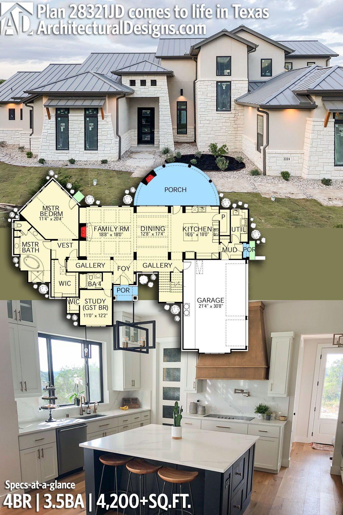 Architectural Designs House Plan 28321hj Client Built In Texas 3 4br 4ba 3 000 Sq Ft Ready Whe Plan Zagorodnogo Doma Arhitekturnyj Dizajn Dom Simsov