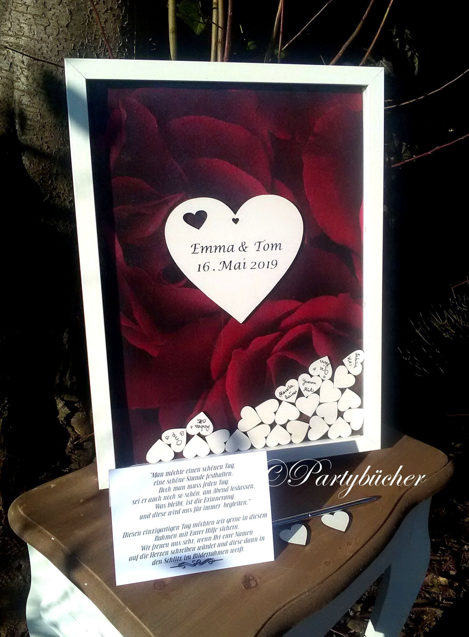 Guestbook wooden hearts, xl wedding Guestbook picture Frame ...