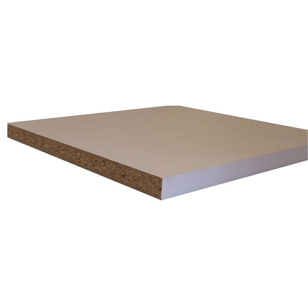 Veranda Shelving White Melamine Board Common 3 4 In X 11 3 4 In X 8 Ft Actual 0 75 In X 11 75 In X 97 In 1605509 The Home Depot Melamine Shelving White Melamine Board Shelf Board