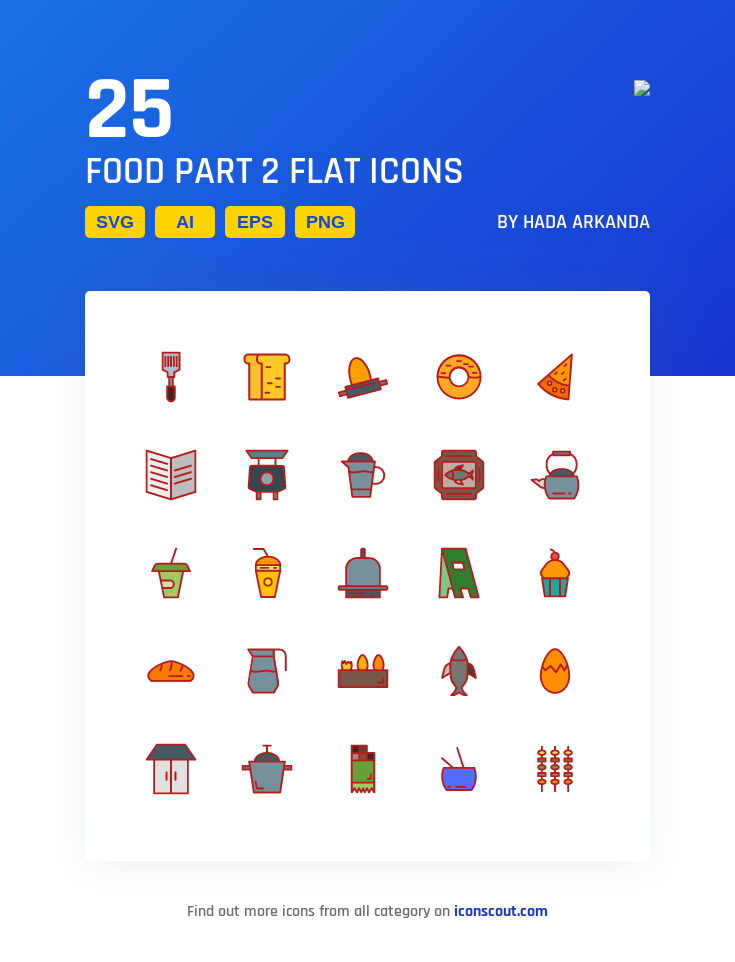 Download Food Part 2 Flat Icon Pack Available In Svg Png Eps Ai Icon Fonts Flat Icon Icon Pack Icon