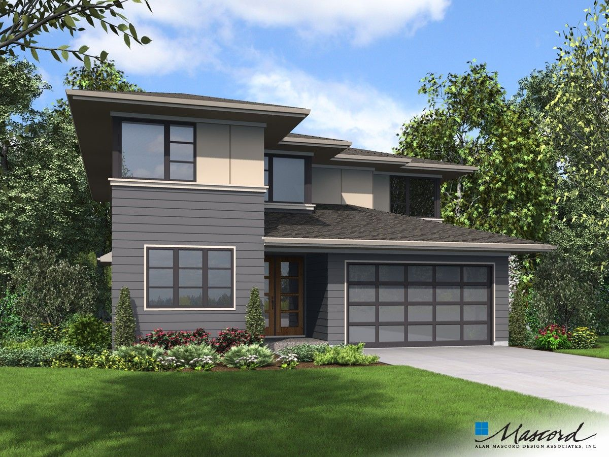 Mascord Plan 22209a The Robertson Contemporary House Plans Prairie Style Houses Modern House Plan