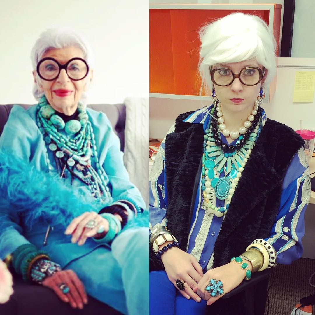 """More is more, and less is a bore."" Channeling my inner Iris Apfel with a fabulous DIY halloween costume today (even though I'll never be quite as fabulous!)"