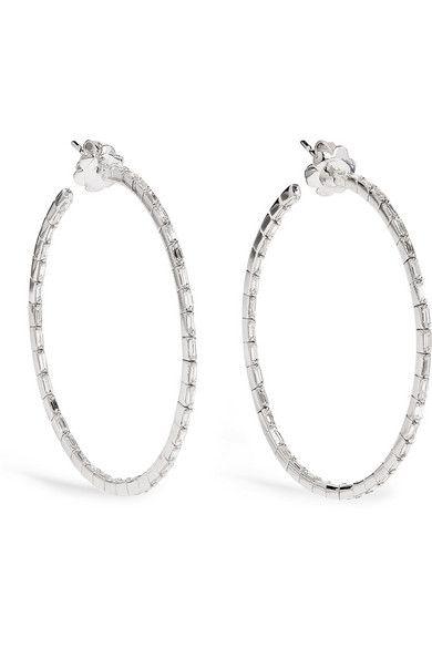Suzanne Kalan 18-karat White Gold Diamond Hoop Earrings ejBjiilrVW