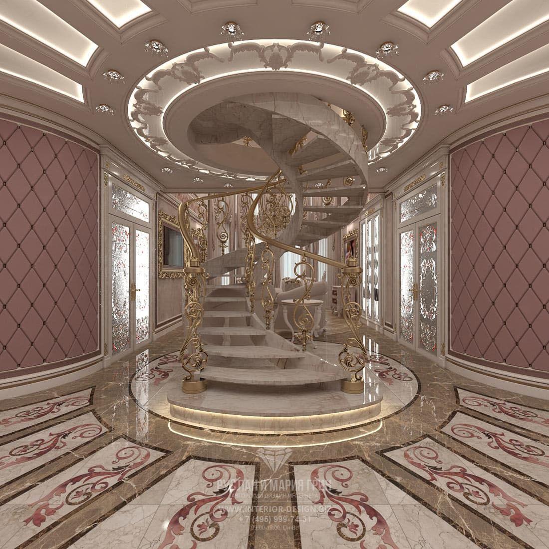 Дизайн лестницы частного дома в классическом стиле ...