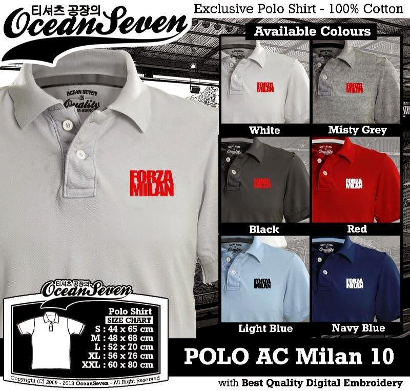 Kaos Polo AC Milan 10 (Dengan gambar) Kemeja, Kaos polo
