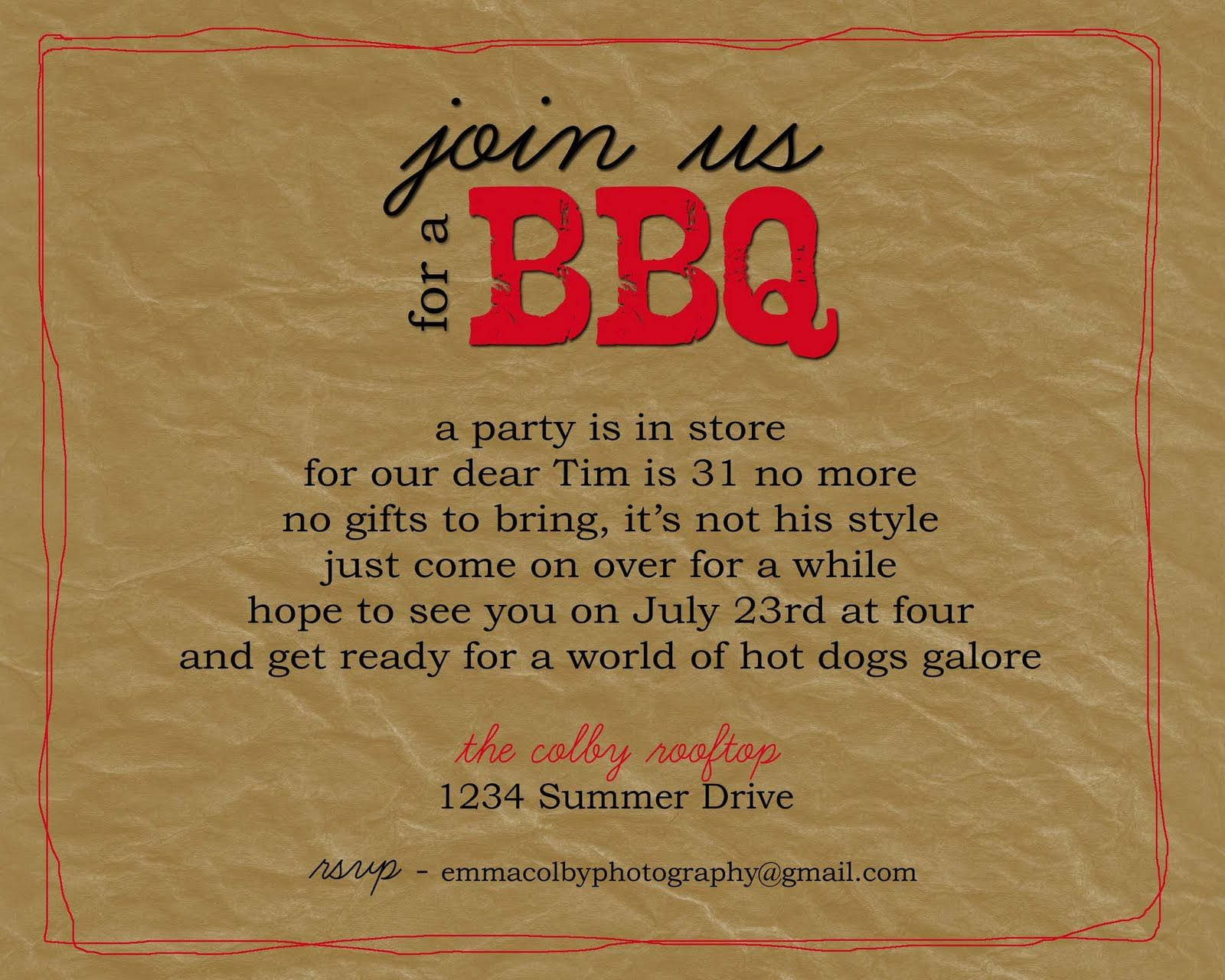 BBQ Party Invitation Wording | BBQ | Pinterest