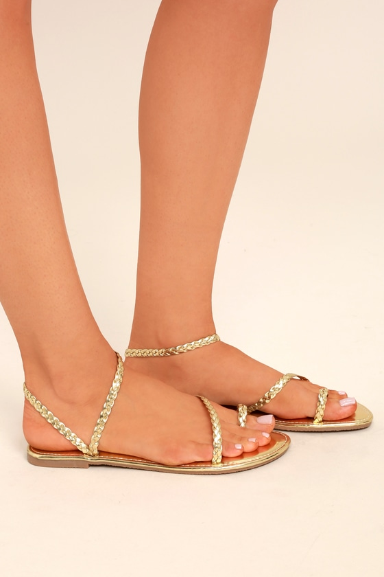 Mirela Gold Flat Sandals | Studded