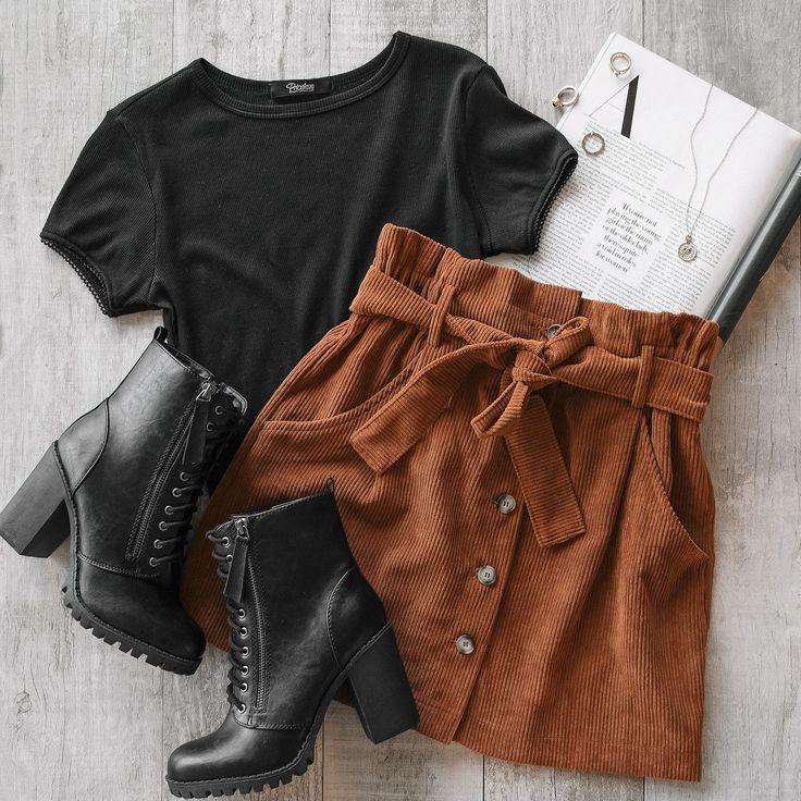 No Loose Ends Tan Cord Skirt - Lookbook - #Cord #Eenden #no #Lookbook #lo ... - #en