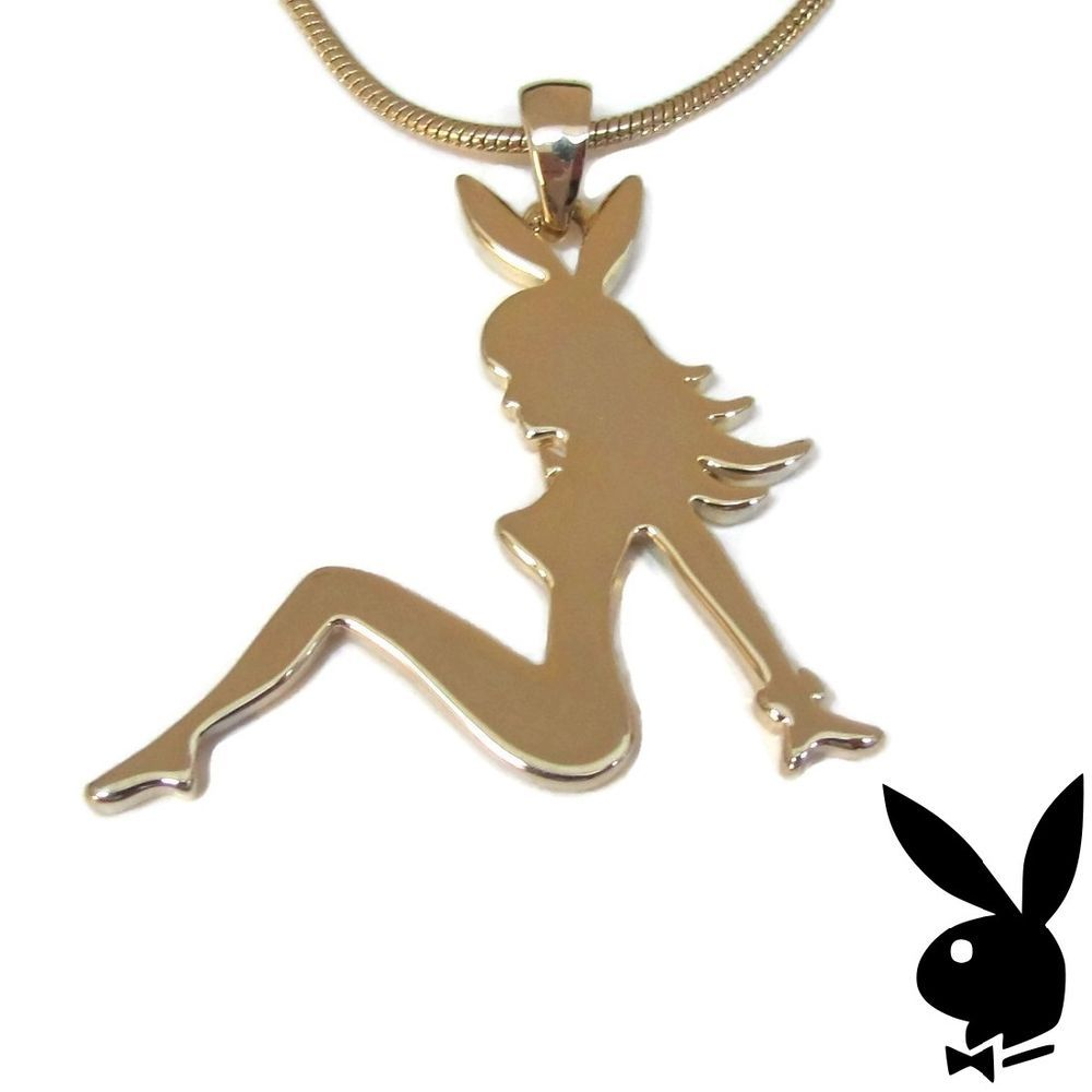 Gold sterling silver playboy necklace bunny mud flap girl pendant gold sterling silver playboy necklace bunny mud flap girl pendant mudflap 2007 aloadofball Image collections