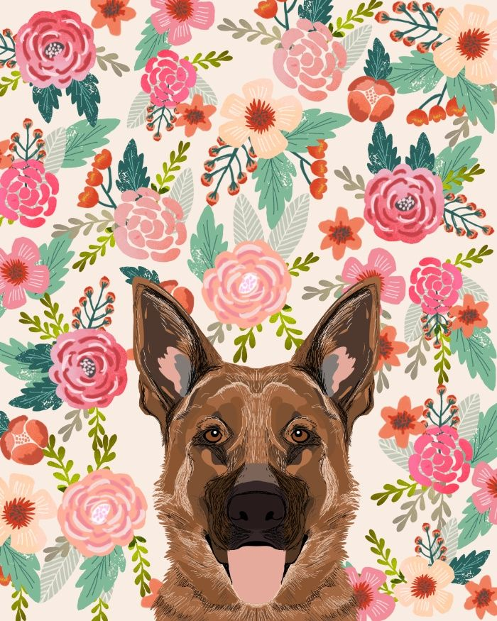 German Shepherd Florals Flowers Spring Pet Portrait Dog Art Funny