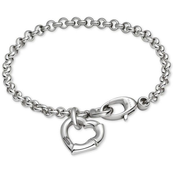 Gucci Women's Sterling Silver Heart Charm Bracelet YBA390138001017 ($350) ❤ liked on Polyvore featuring jewelry, bracelets, silver, sterling silver charm bracelet, gucci jewelry, heart shaped jewelry, gucci jewellery and mirrored jewelry