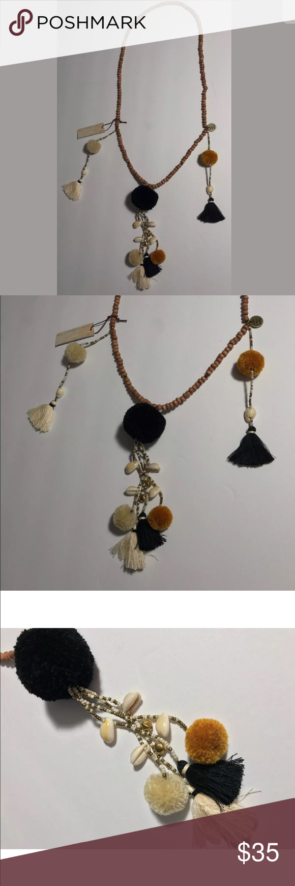 """Mare sole amore long necklace tassels shells boho Mare Sole Amore New with tags Wood beads with shells, pom poms and tassels I have others that match in my posh store.  Length is 32"""" mare sole amore Jewelry Necklaces"""