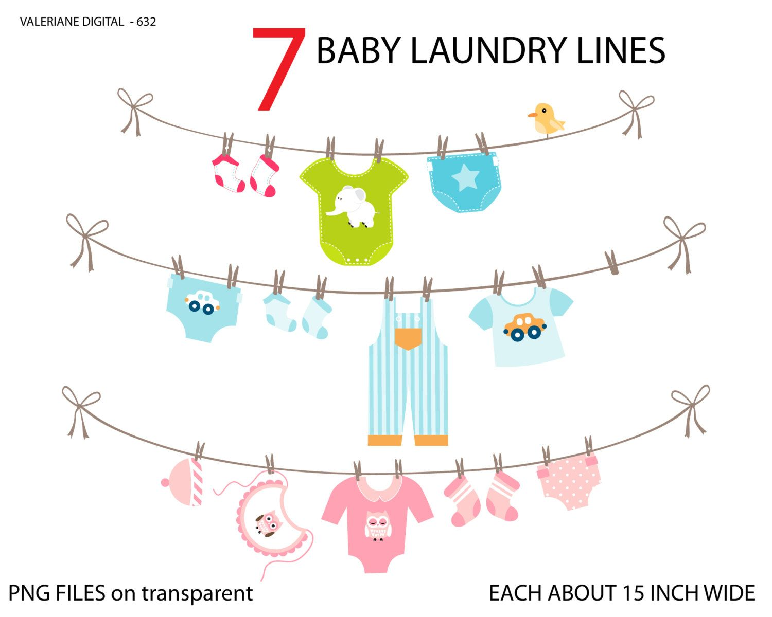 Baby laundry line clipart, baby clothes line clip art, clipart for ...