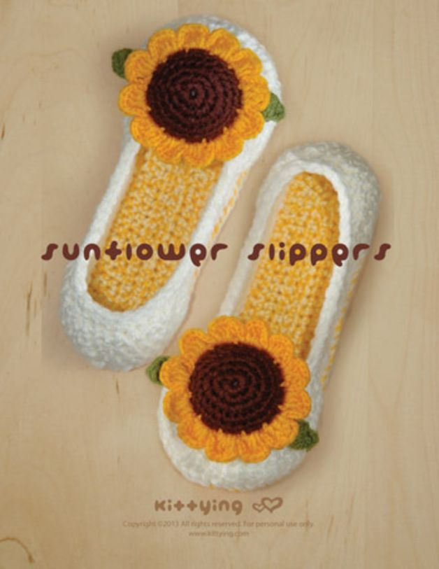 Sunflower Damen Haus Slipper Häkelanleitung made by Kittying Crochet ...