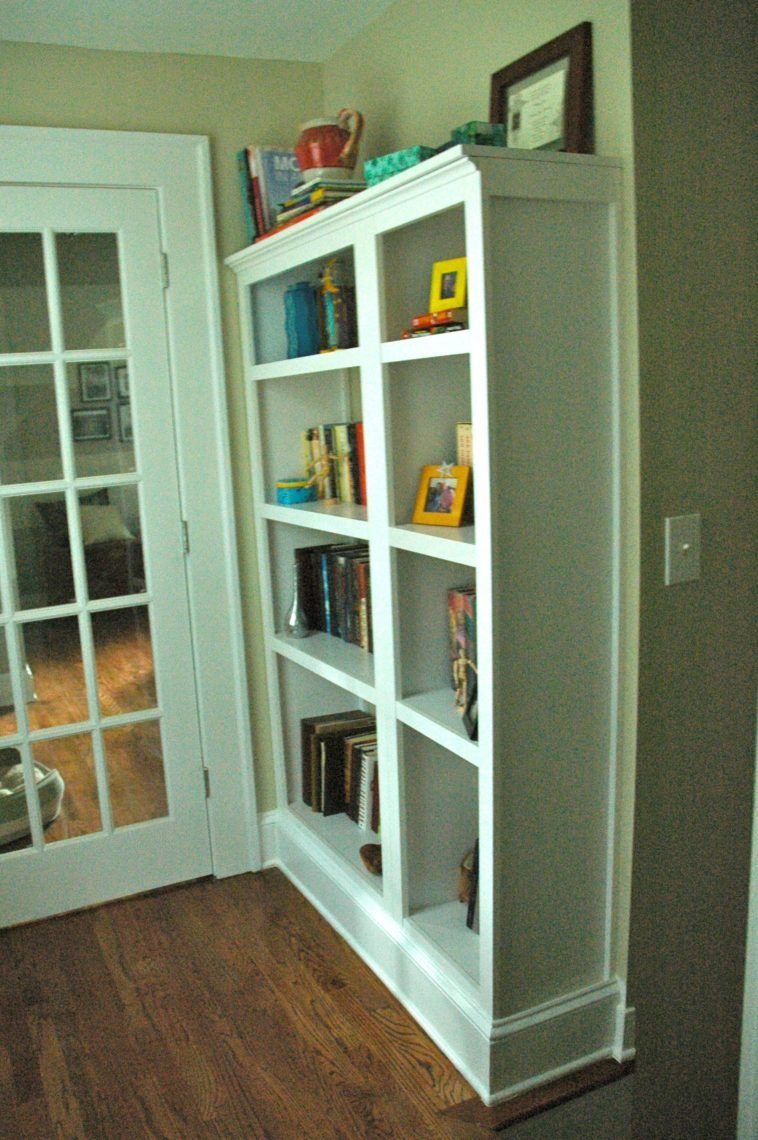 Tall Diy Built In Bookcase In Front Of French Door Built