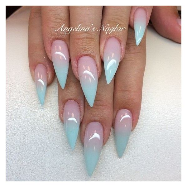 Beautiful Stilleto Baby Blue Tip Nails Emilywalls Beauty