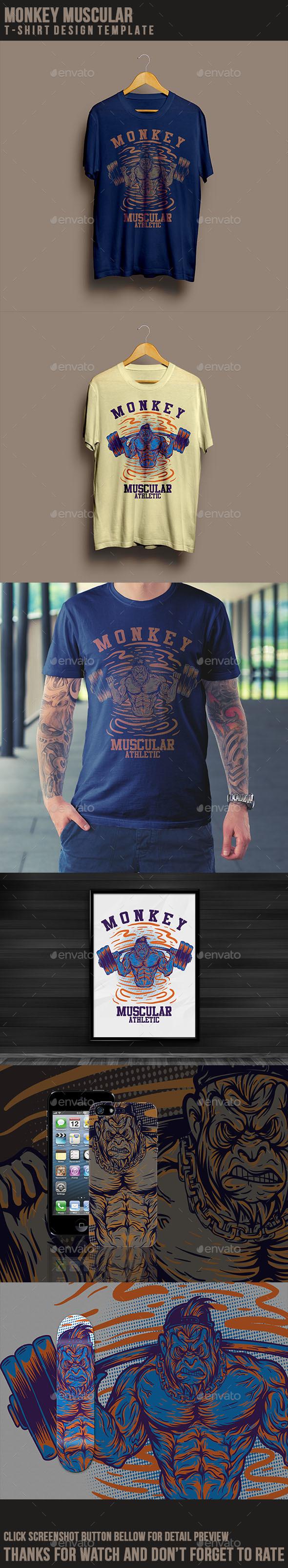 Shirt ke design - Monkey Muscular T Shirt Design