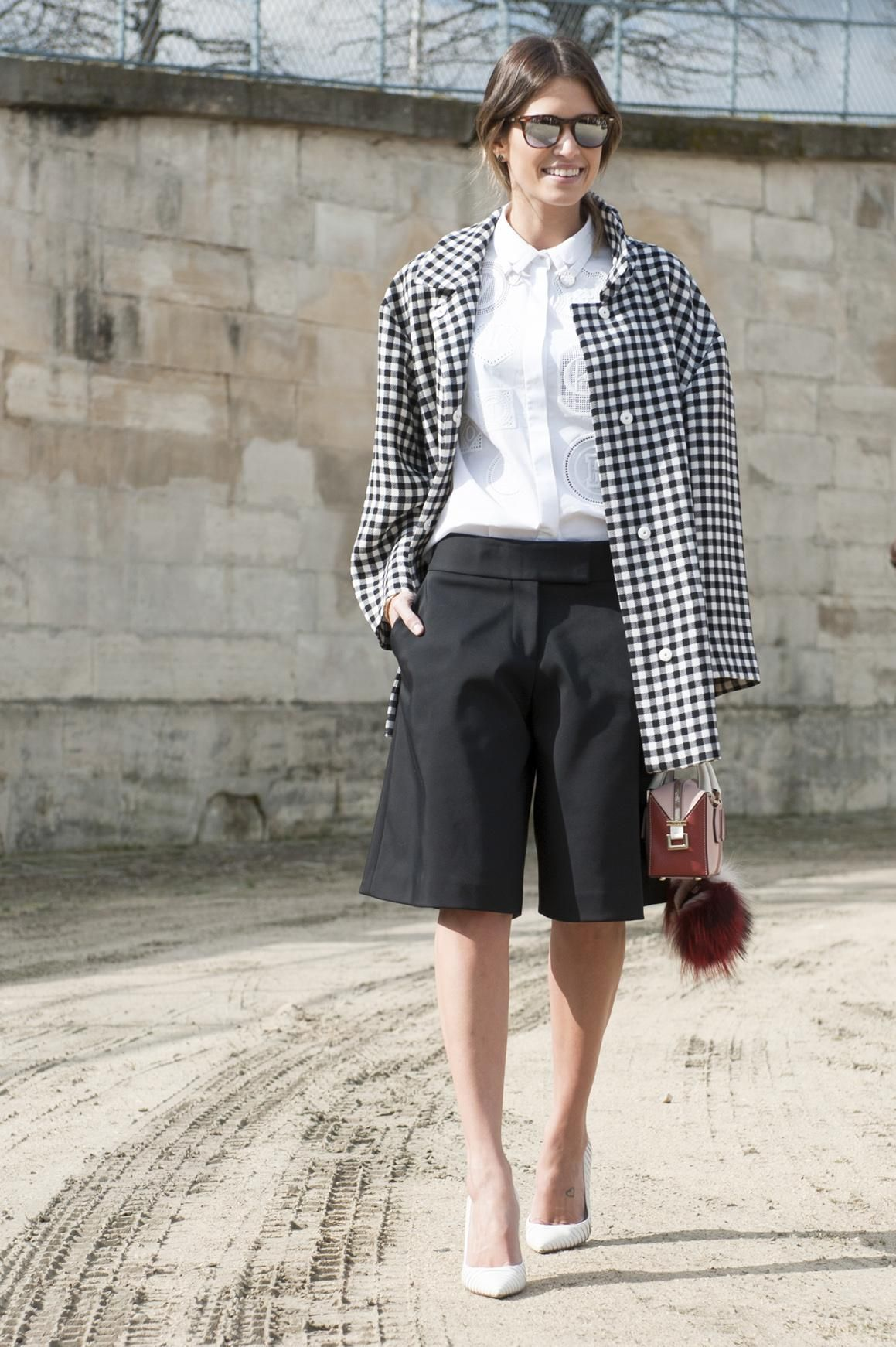 Helena Bordon's Best Street Style Outfits - black and white checked coat styled with