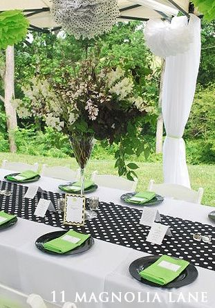 Baby Shower In Lime Black And White
