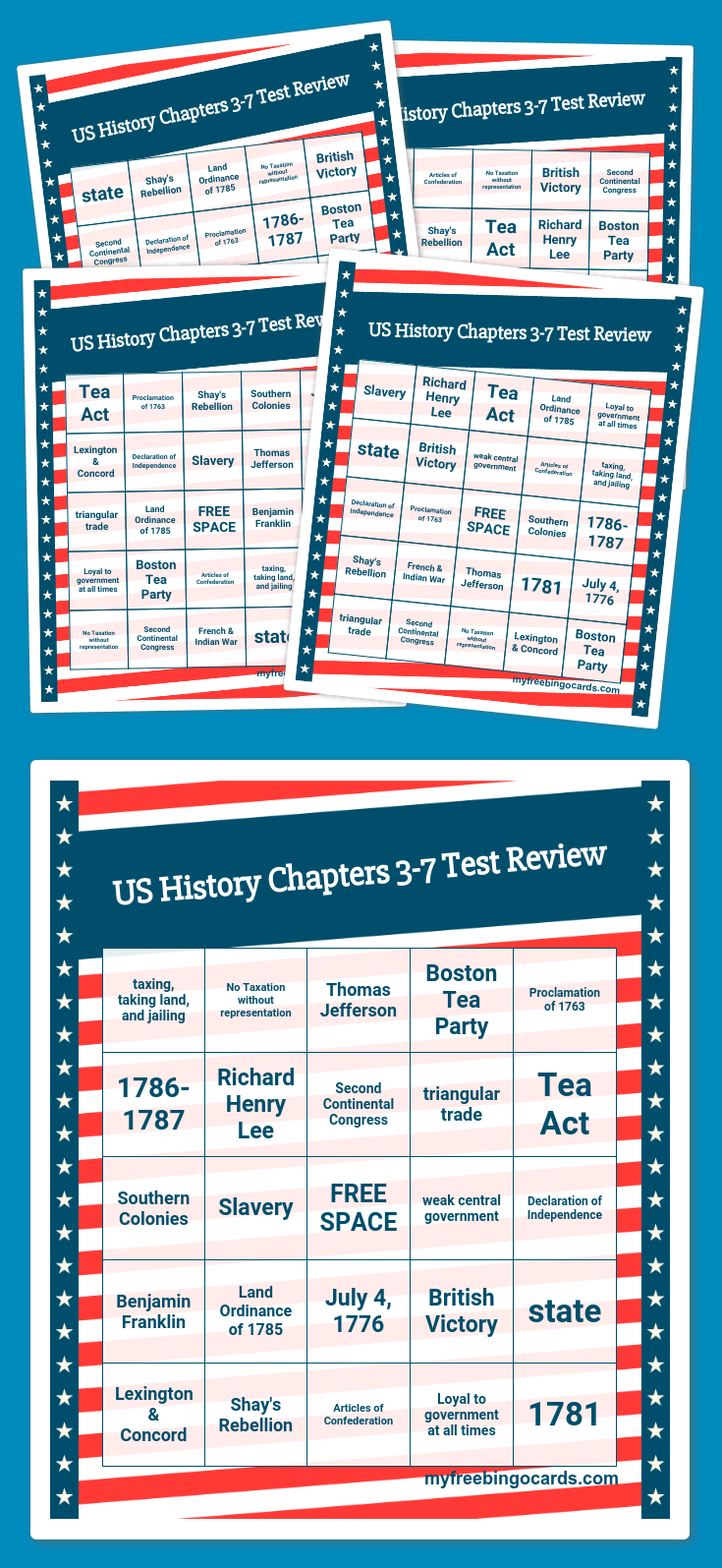 US History Chapters 3-7 Test Review Bingo | 7th grade | Pinterest ...