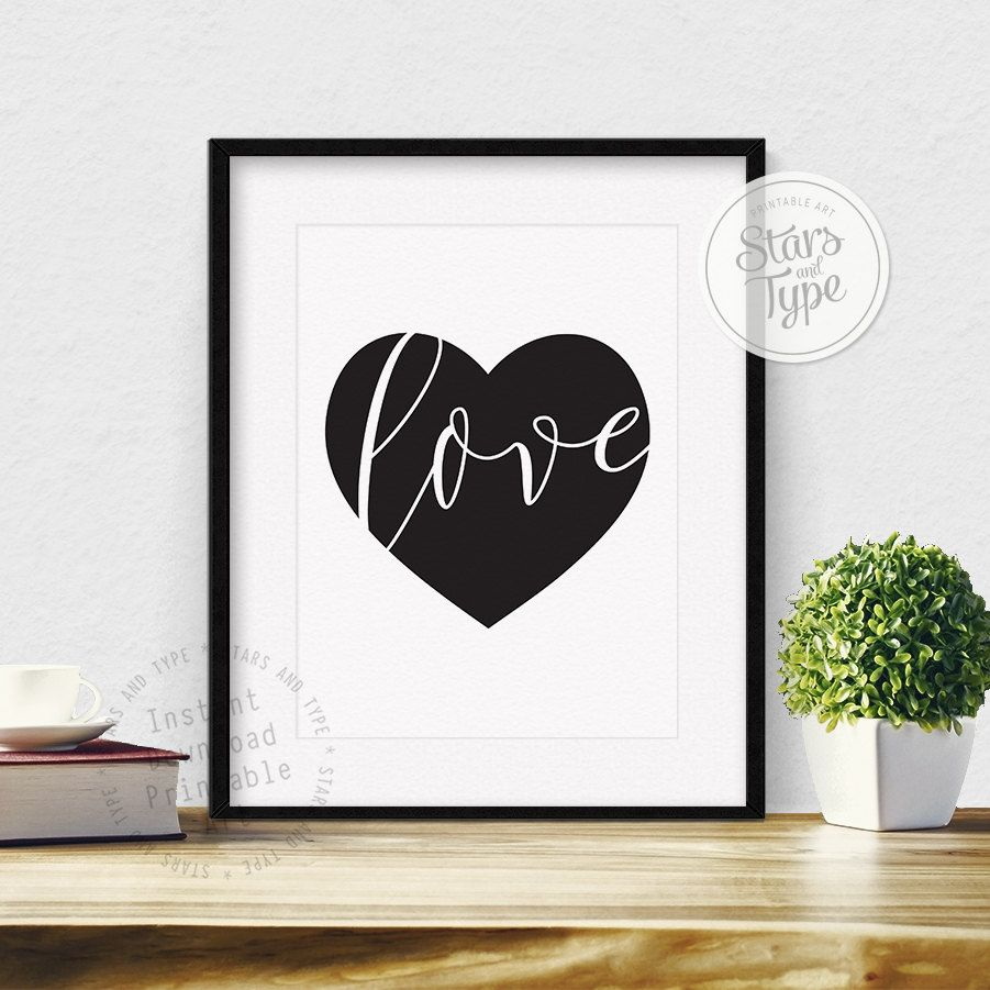 Black Love Heart, Printable Wall Art, Modern Minimalist Design, Black and White Typography, Digital Print, Valentines Day Gift, Home Decor by StarsAndType on Etsy