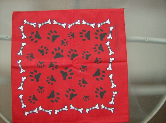 make you #pooch looked #stylish and #hipster with a #Bone & #Paw Print #red #Bandana #handmade by #2luvbugz on #Etsy, $2.00