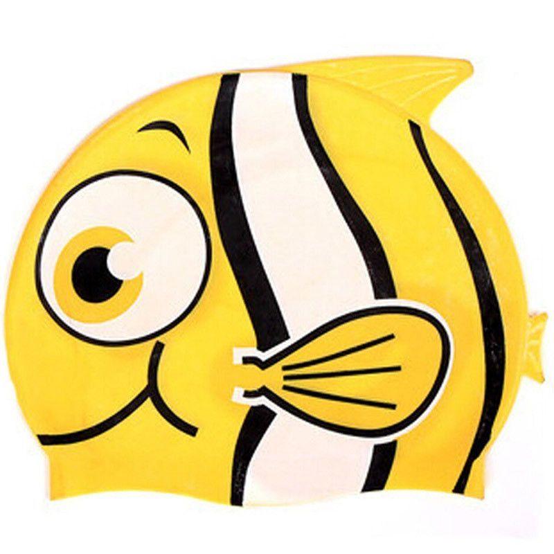 New CUTE Cartoon Silicone Fish Swim Cap Children Kids Waterproof Ear ...