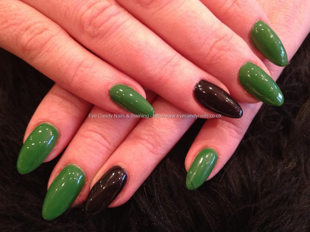 Green and black gel polish over almond gel nails | Nail Polishes I ...
