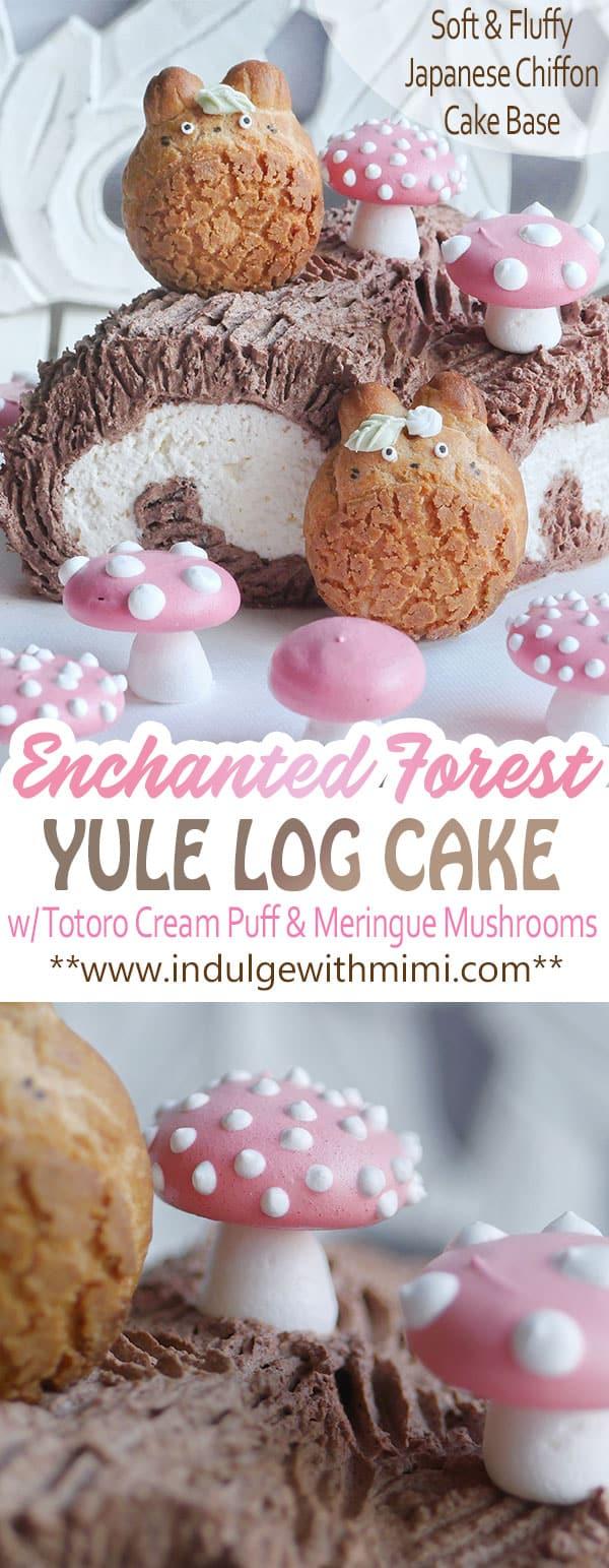 Echanted Forest Christmas Yule Log Cake Made with Japanese