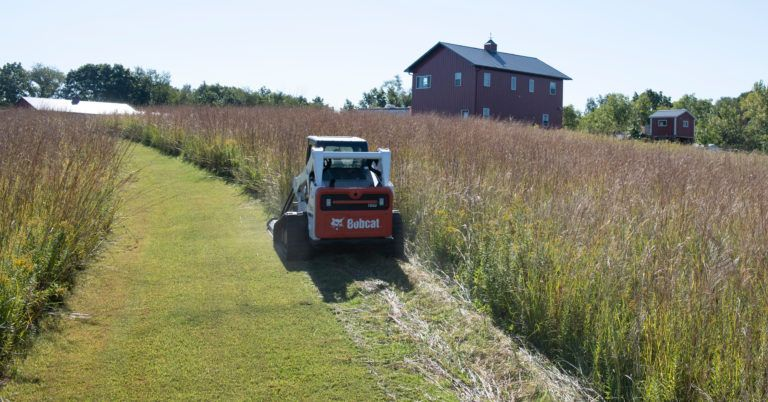 Chase Burns mowing grass with his Bobcat T650 compact track