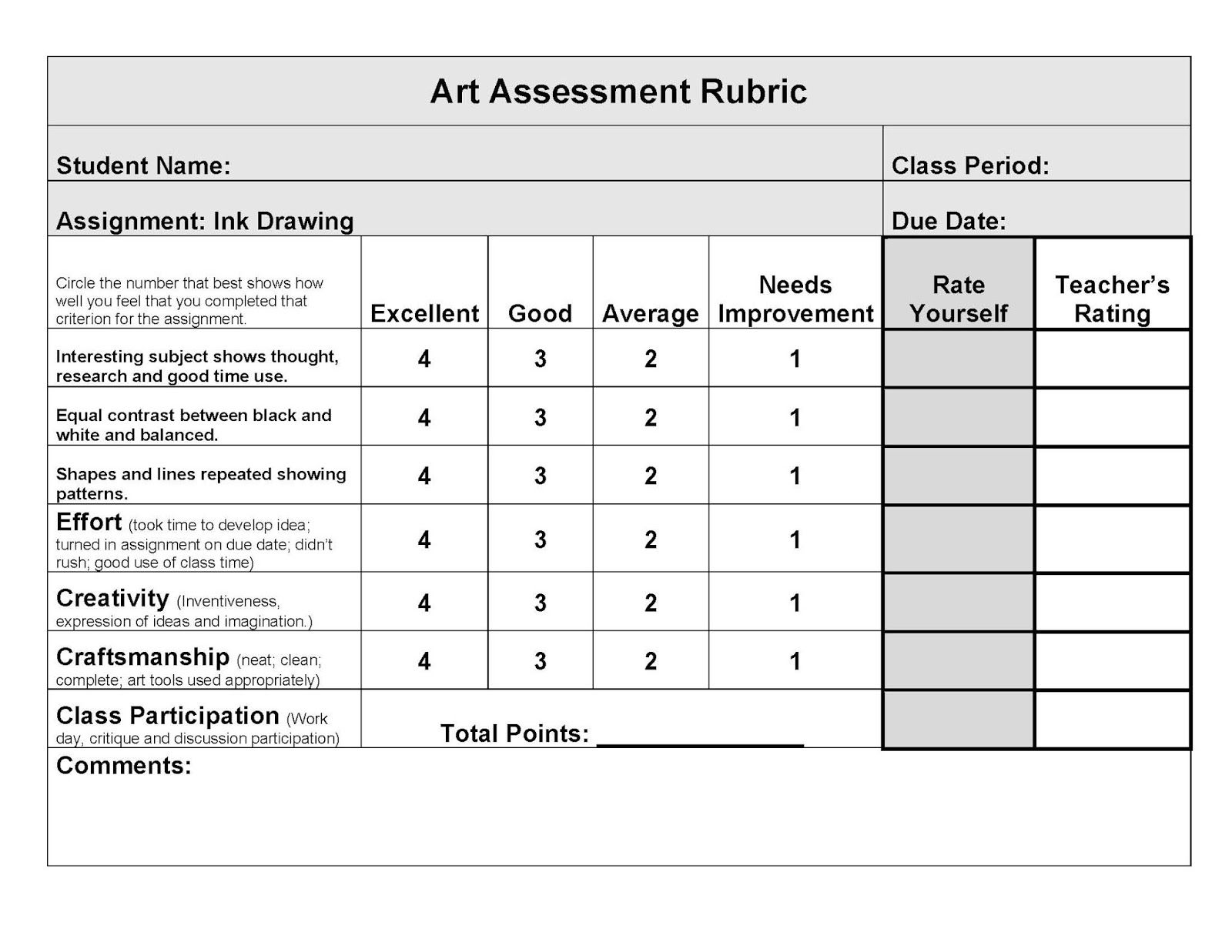 Image Result For Drawing Rubric