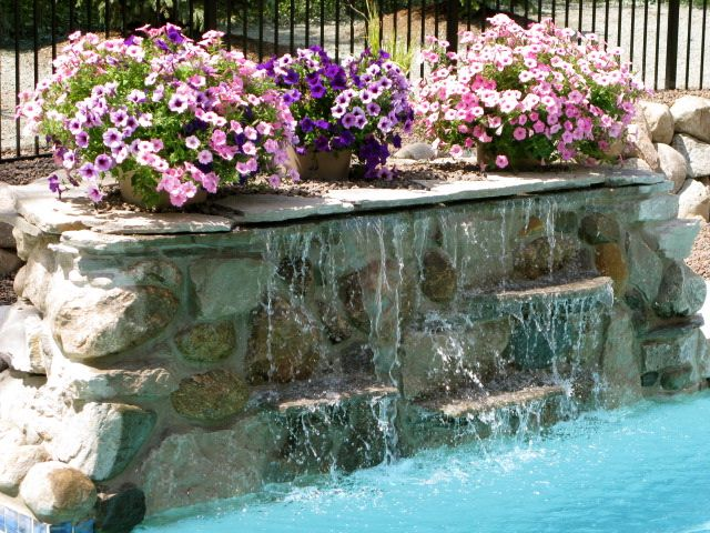 Pool waterfall kits rock waterfall built in canton - How to build a swimming pool waterfall ...