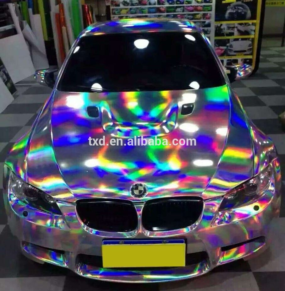 Newest Purple Holographic Car Vinyl Wrap For Car Wrapping With Air Free  Bubbles With Size: