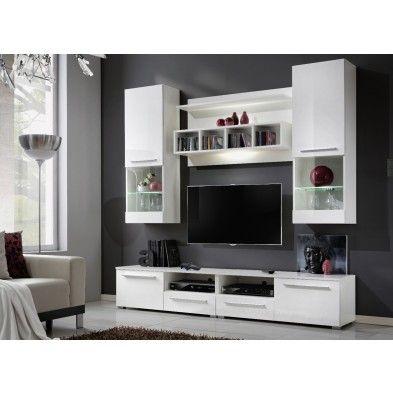 Ensemble meuble TV mural design High gloss blanc Mueble