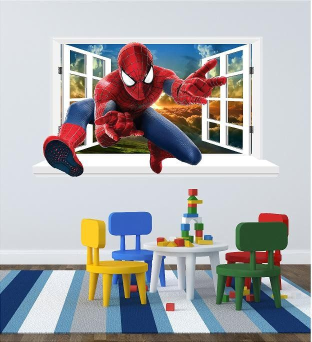 Wall Decals For The Childrenu0027s Bedroom Or Home (sticker) Spiderman Window  Sticker For The Wall (size 58 X 101 Cm) Instruction And A Scrapper To Help  La