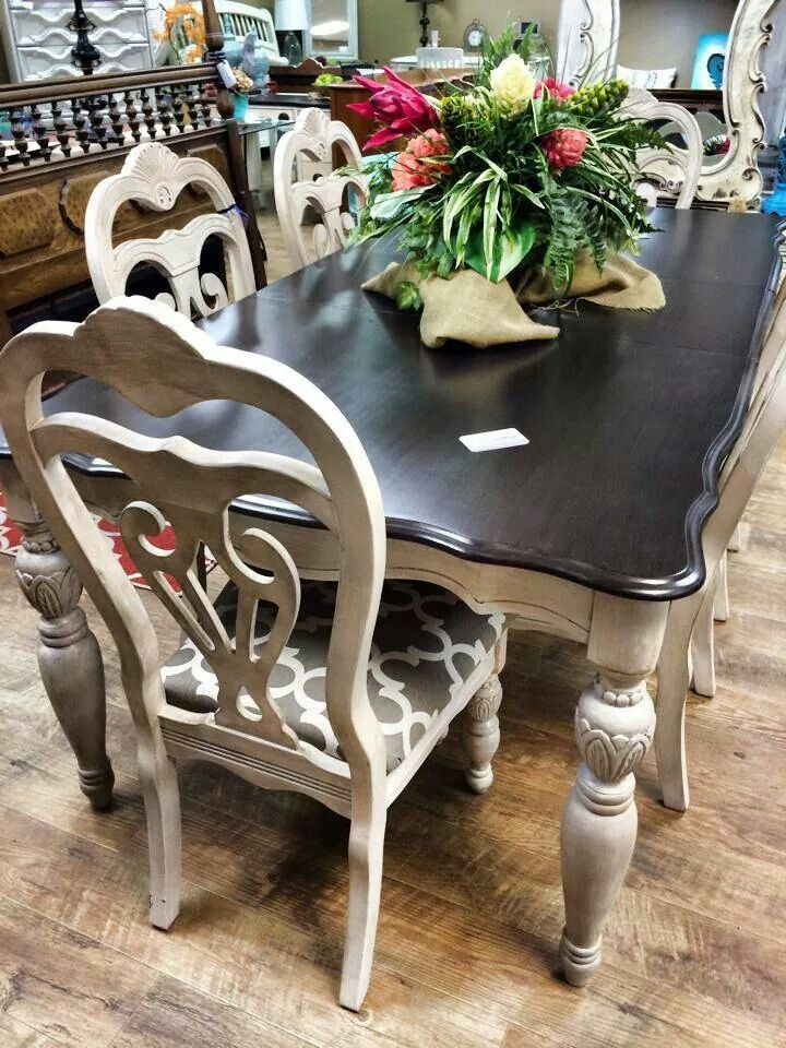 Cream And Black Dining Table With Chairs Painted Dining Room