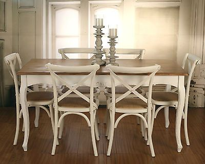 7 PIECE French Provincial Dining Table Chairs PACKAGE Timber Top Cross Back In Home Garden Furniture Room