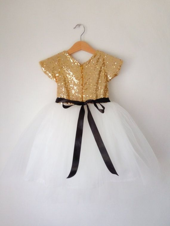 66155aaaee4  Gold and White tutu dress for flower girls Flower girls dress