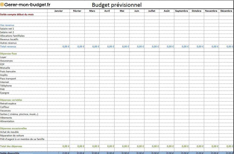 tableau excel budget familial gratuit kamkam pinterest