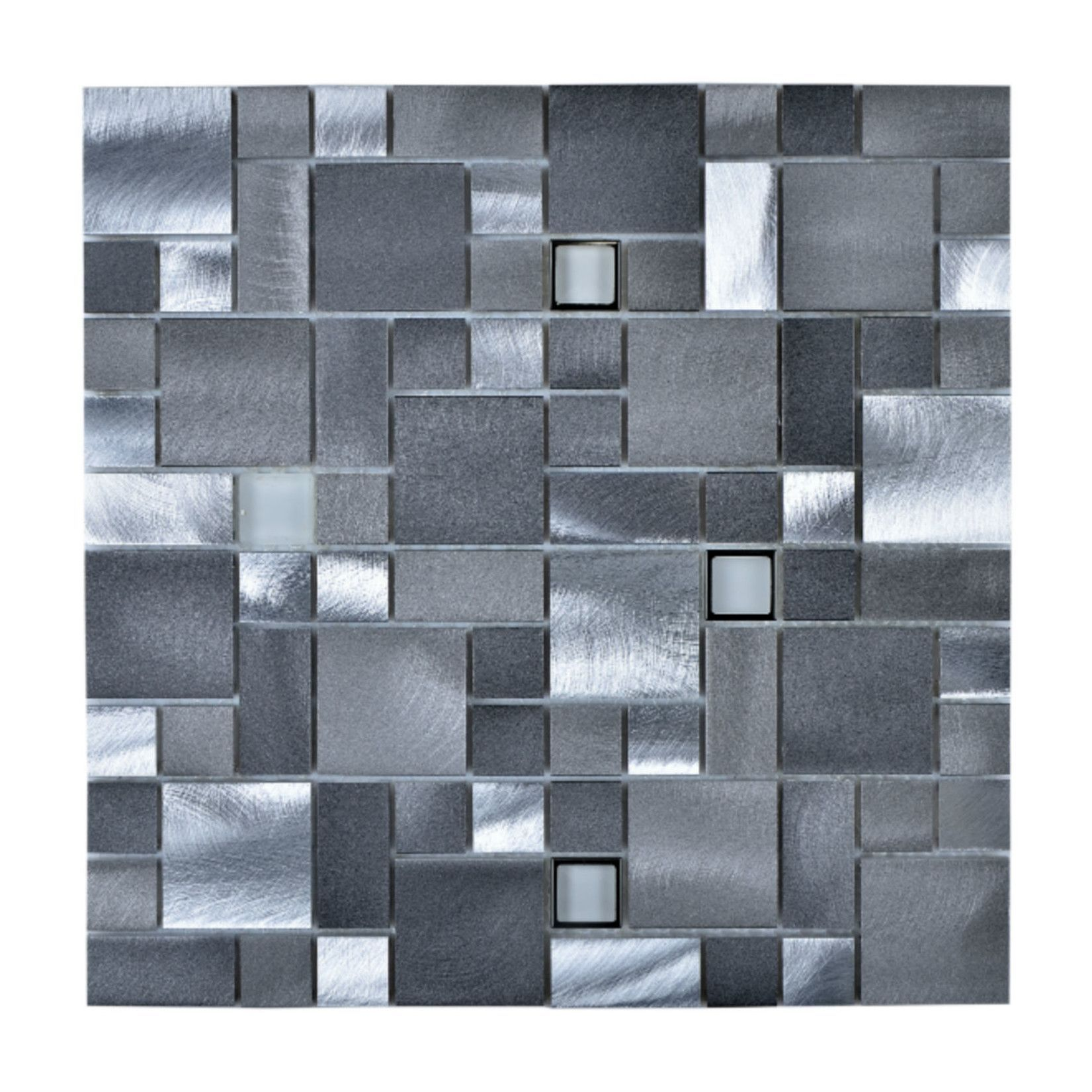 Random Sized Aluminum Mosaic Tile In Brushed Aluminum Gray Legion Furniture Modern Glass Tile Wall Tiles